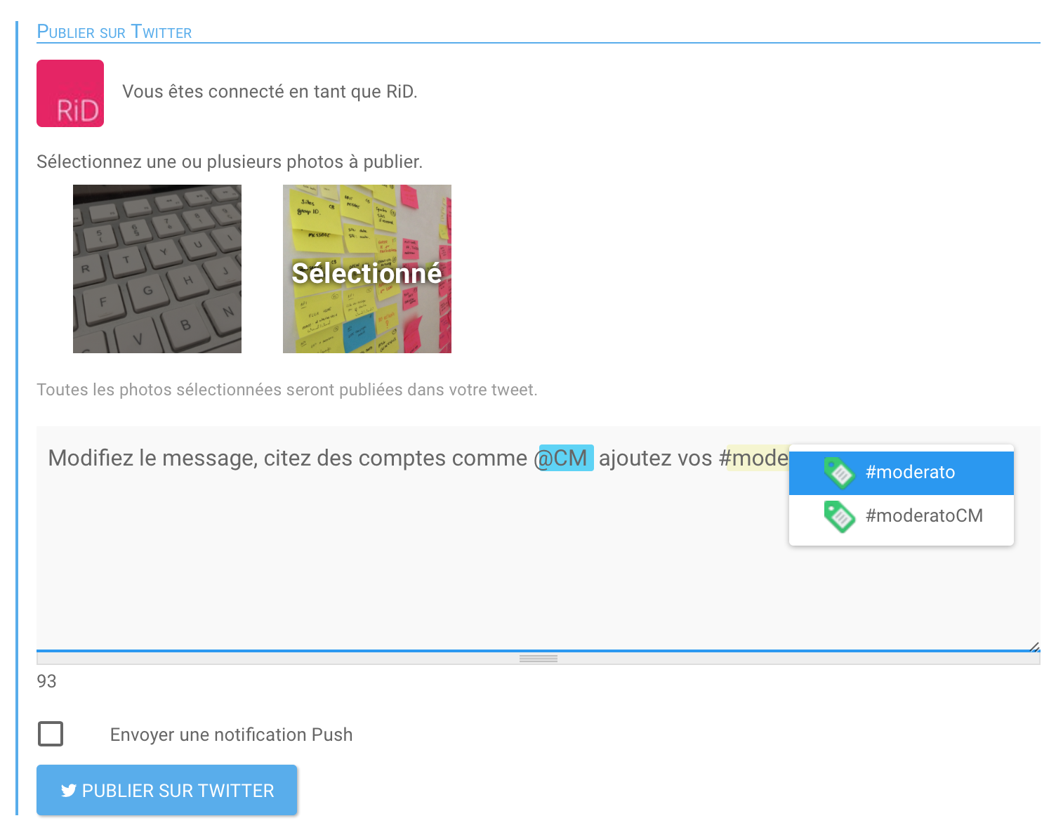Interface de publication Twitter pour Moderato.social